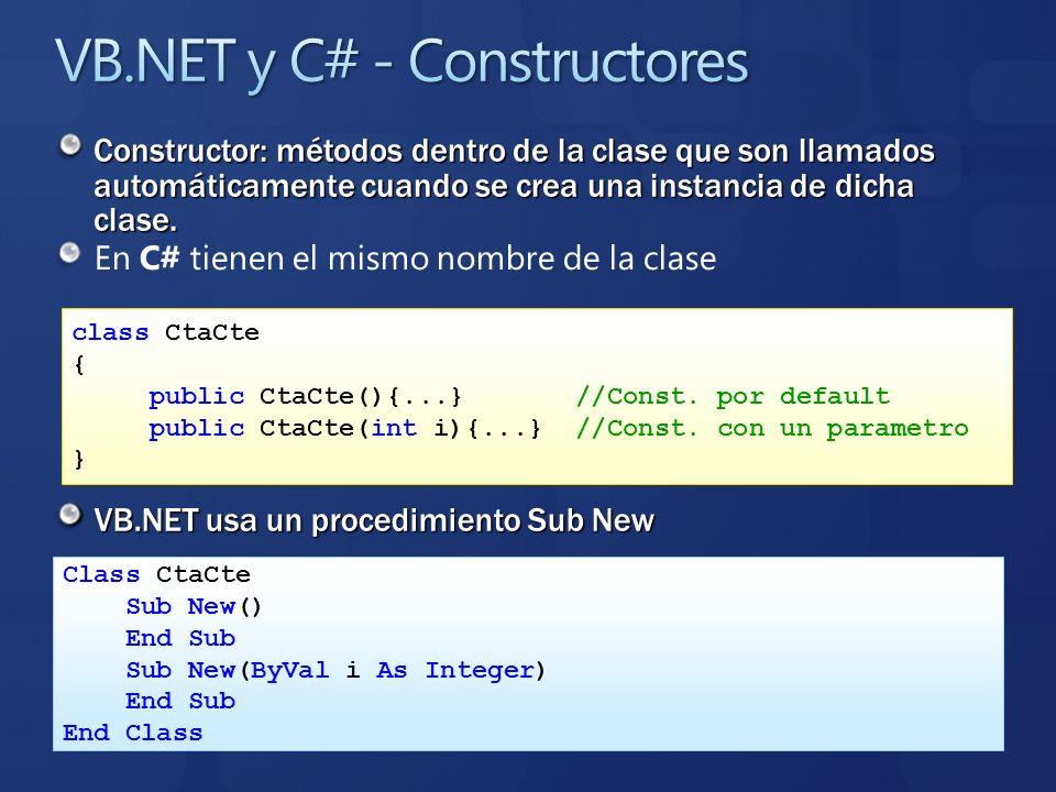 VB.NET y C# - Constructores