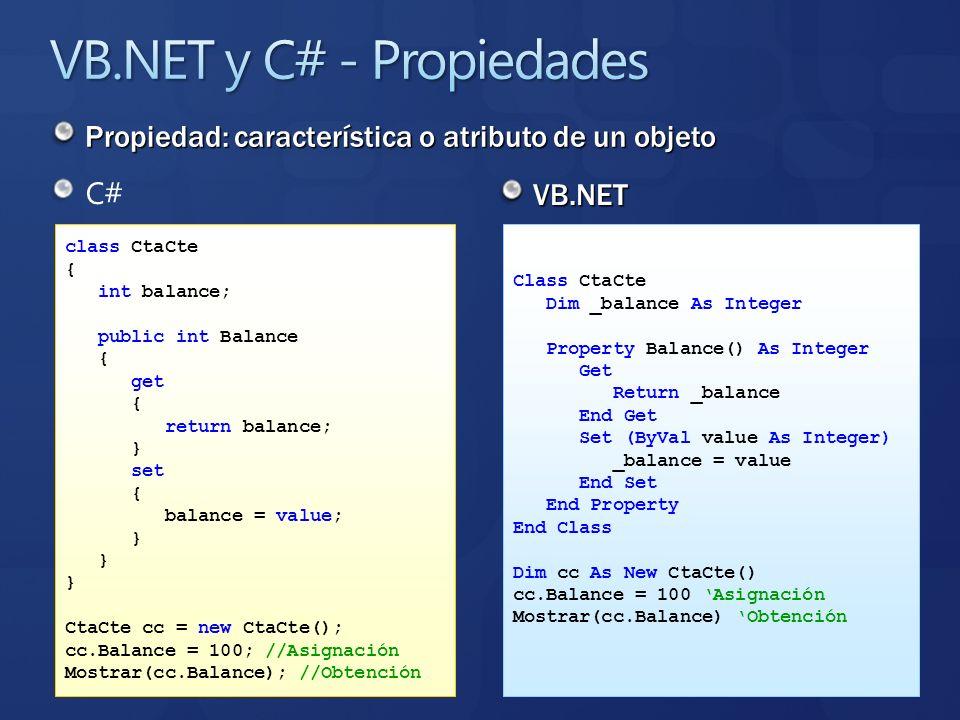 VB.NET y C# - Propiedades