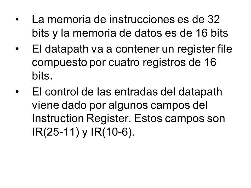 La memoria de instrucciones es de 32 bits y la memoria de datos es de 16 bits