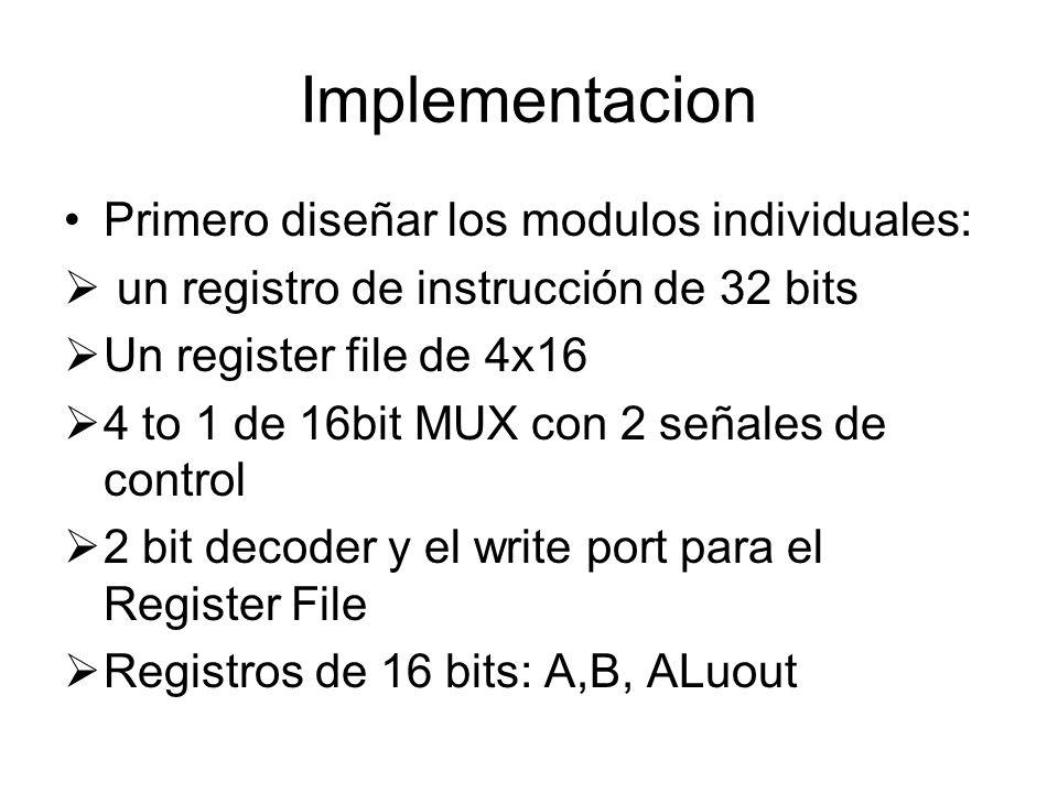 Implementacion Primero diseñar los modulos individuales: