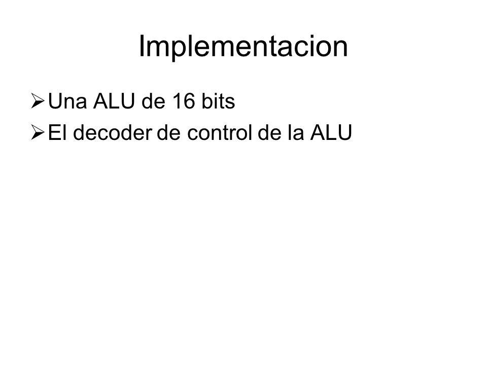 Implementacion Una ALU de 16 bits El decoder de control de la ALU