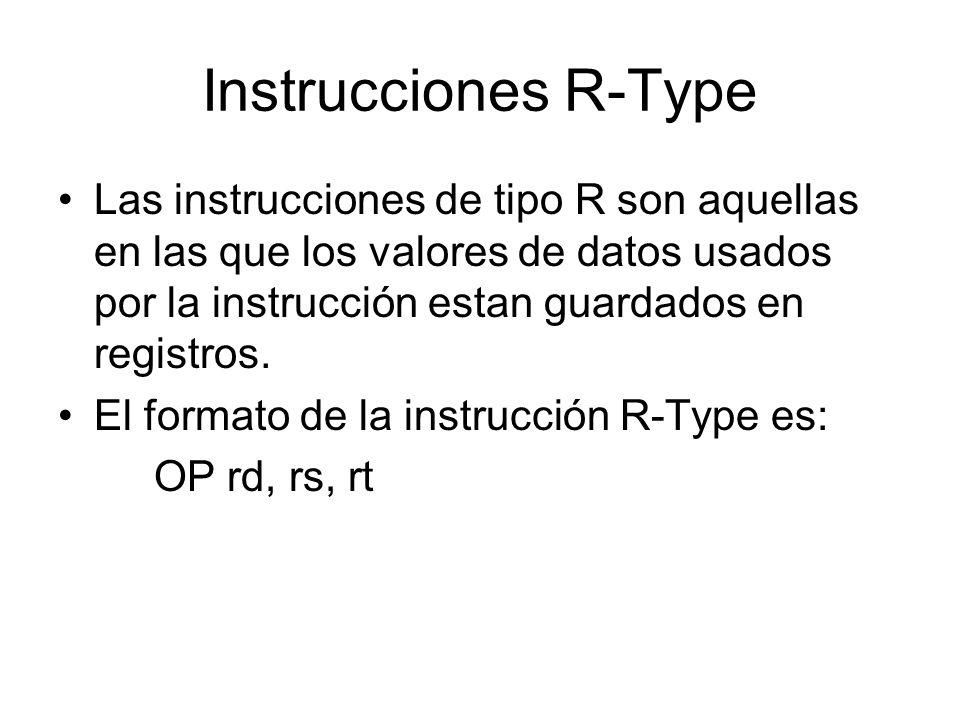Instrucciones R-Type Las instrucciones de tipo R son aquellas en las que los valores de datos usados por la instrucción estan guardados en registros.