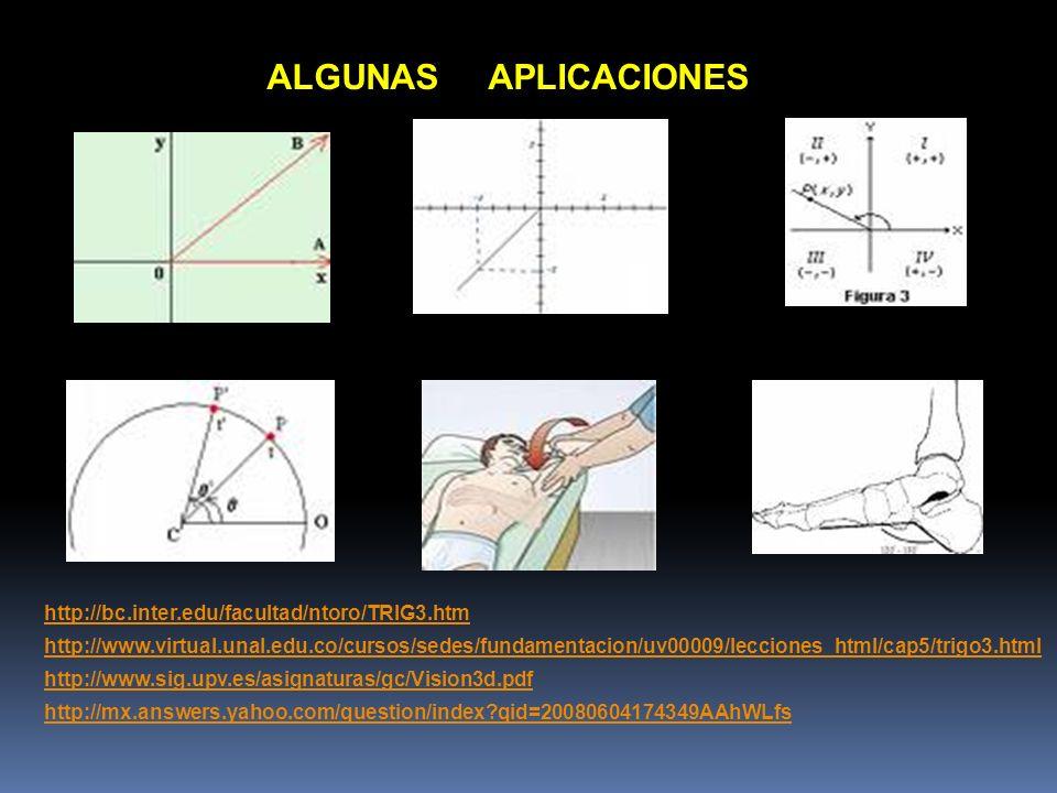 ALGUNAS APLICACIONES http://bc.inter.edu/facultad/ntoro/TRIG3.htm