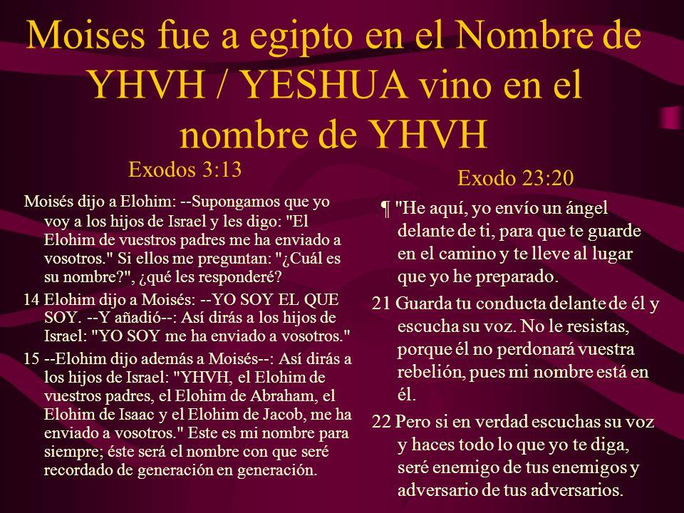 Moises fue a egipto en el Nombre de YHVH / YESHUA vino en el nombre de YHVH