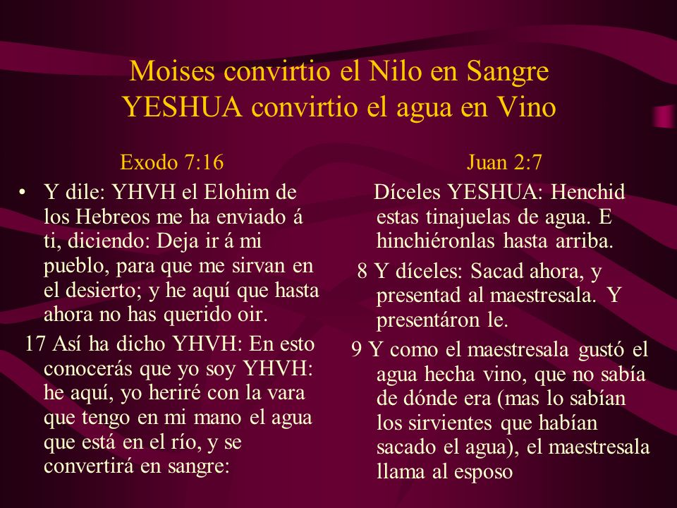 Moises convirtio el Nilo en Sangre YESHUA convirtio el agua en Vino