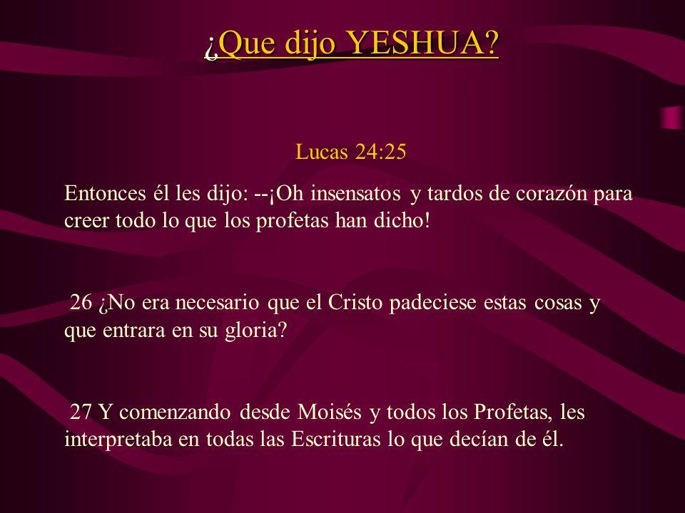 ¿Que dijo YESHUA Lucas 24:25