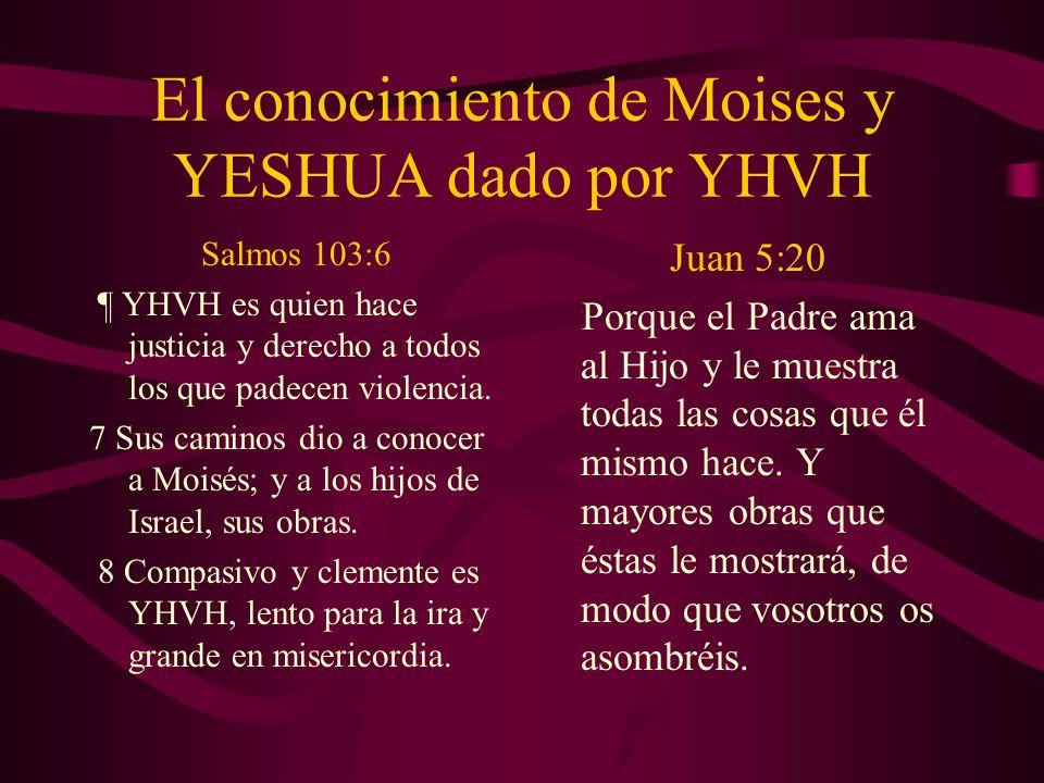 El conocimiento de Moises y YESHUA dado por YHVH