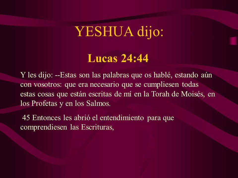 YESHUA dijo: Lucas 24:44.