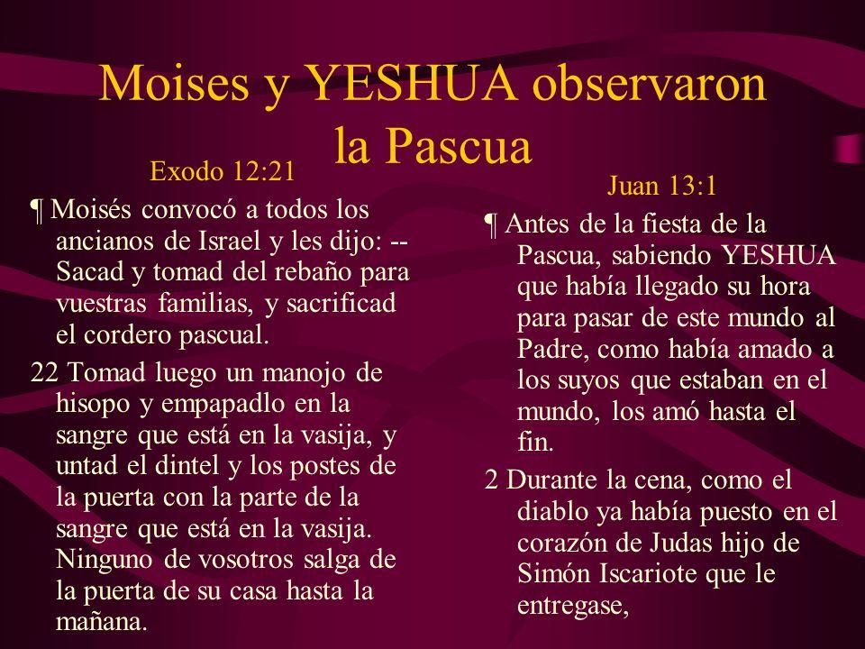 Moises y YESHUA observaron la Pascua