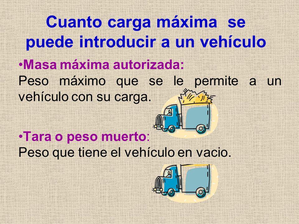 Cuanto carga máxima se puede introducir a un vehículo