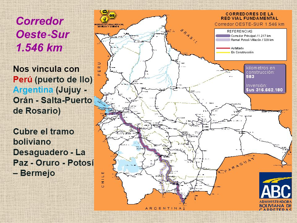 Corredor Oeste‐Sur 1.546 km. Nos vincula con Perú (puerto de Ilo) Argentina (Jujuy - Orán - Salta-Puerto de Rosario)
