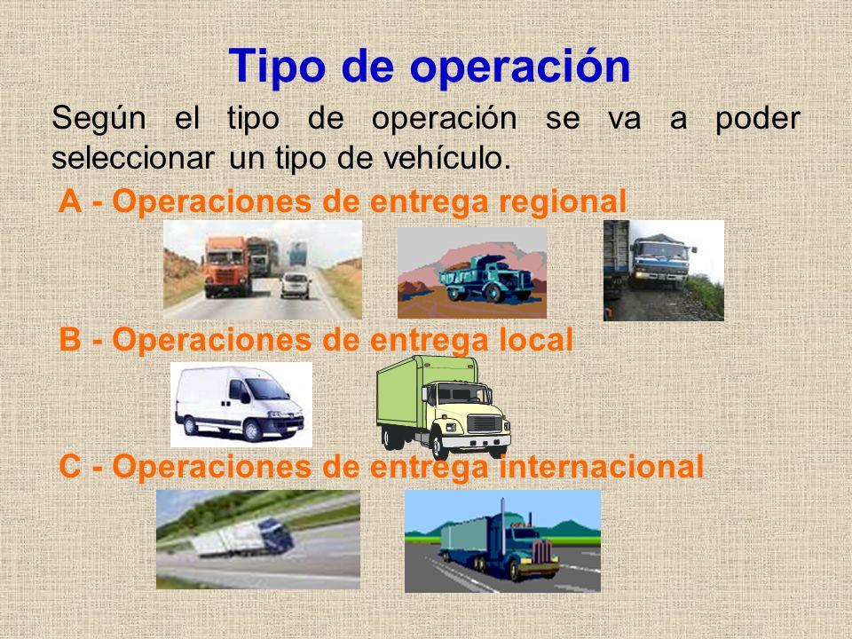 Tipo de operaciónSegún el tipo de operación se va a poder seleccionar un tipo de vehículo. A - Operaciones de entrega regional.