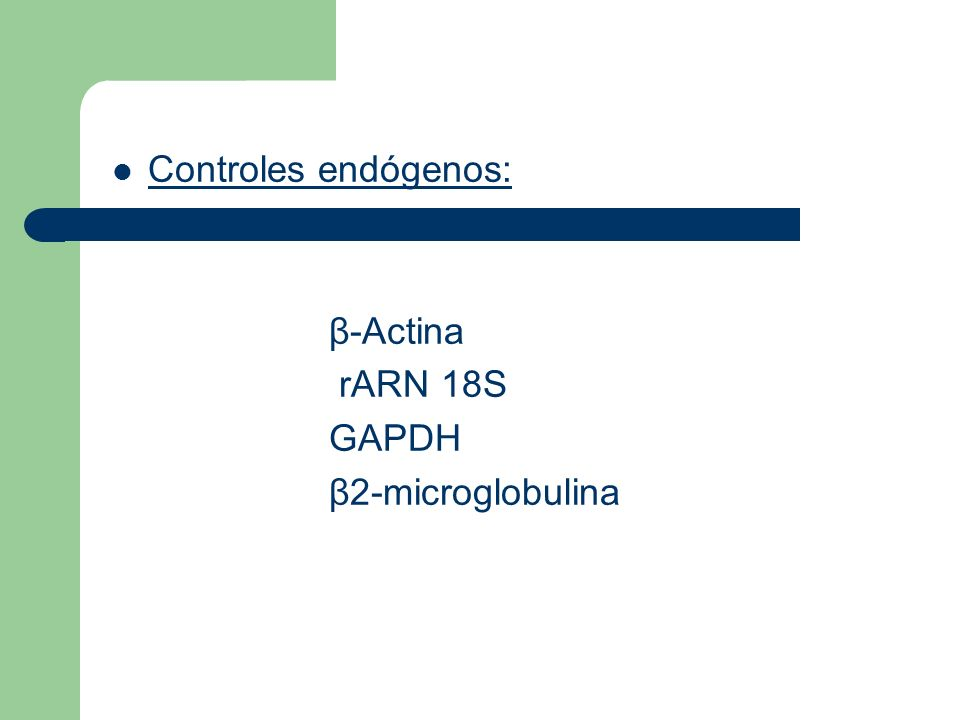 Controles endógenos: β-Actina rARN 18S GAPDH β2-microglobulina