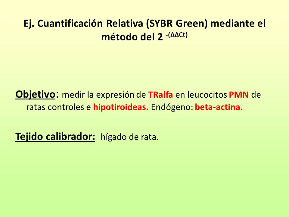 Ej. Cuantificación Relativa (SYBR Green) mediante el método del 2 -(ΔΔCt)
