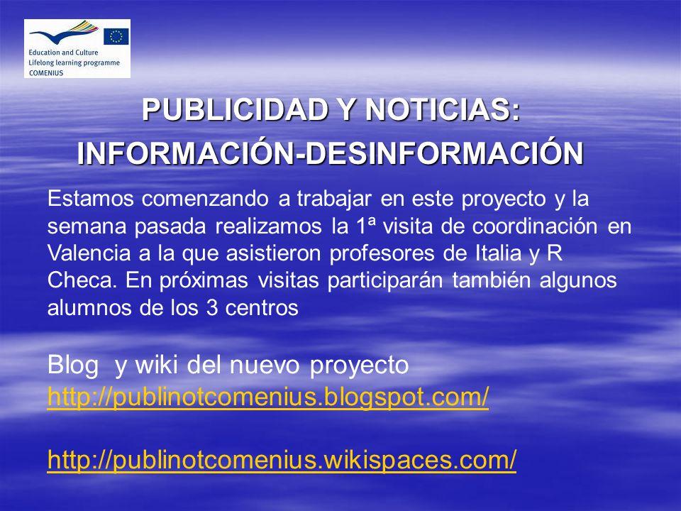 PUBLICIDAD Y NOTICIAS: INFORMACIÓN-DESINFORMACIÓN