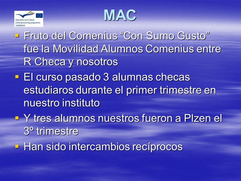 MAC Fruto del Comenius Con Sumo Gusto fue la Movilidad Alumnos Comenius entre R Checa y nosotros.
