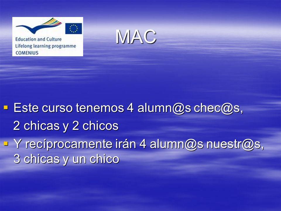 MAC Este curso tenemos 4 alumn@s chec@s, 2 chicas y 2 chicos