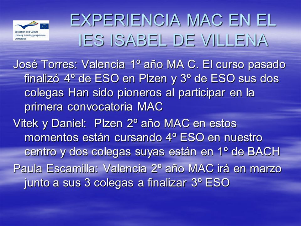 EXPERIENCIA MAC EN EL IES ISABEL DE VILLENA