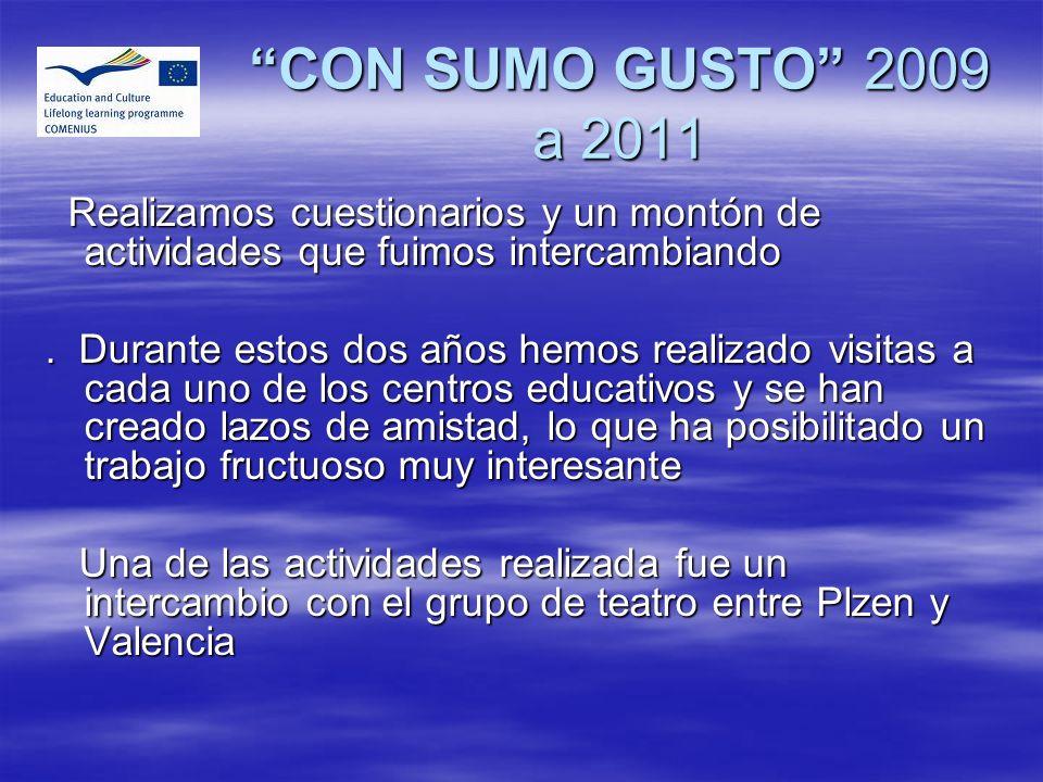 CON SUMO GUSTO 2009 a 2011 Realizamos cuestionarios y un montón de actividades que fuimos intercambiando.