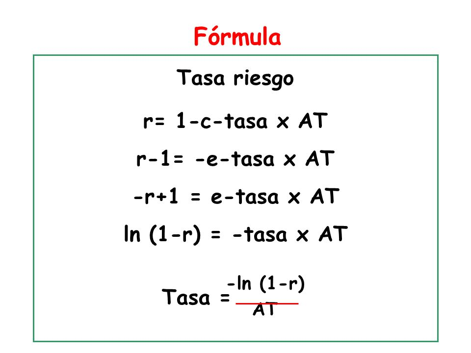 Fórmula Tasa riesgo r= 1-c-tasa x AT r-1= -e-tasa x AT