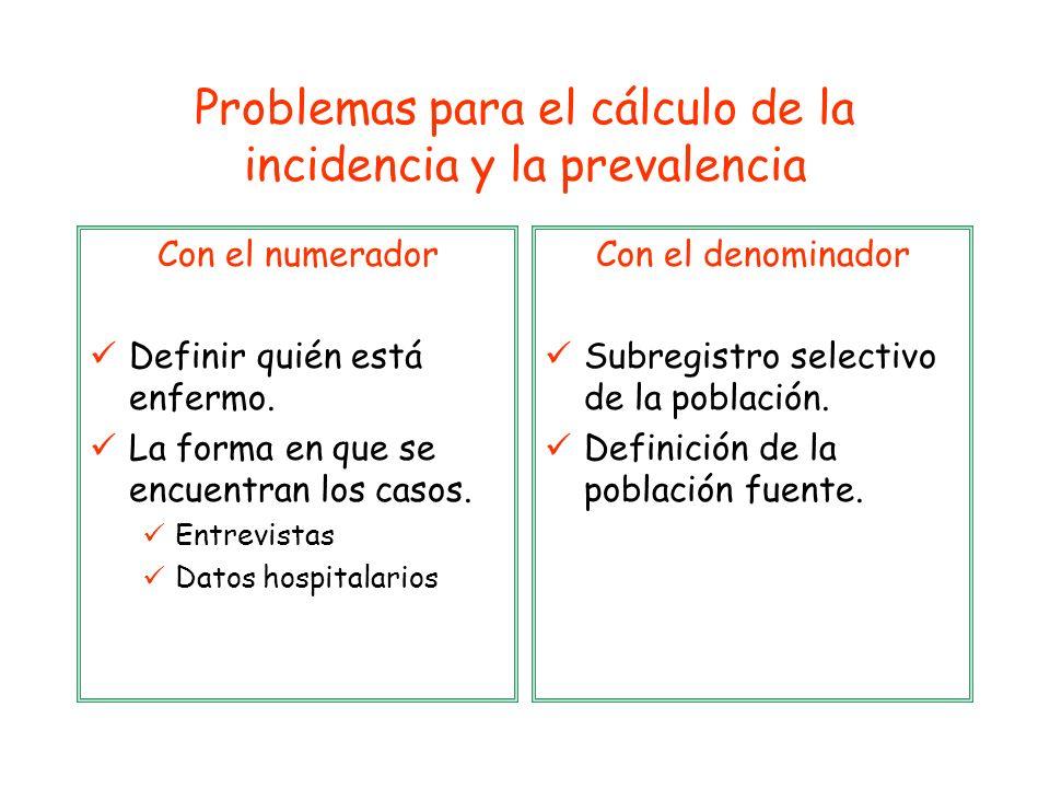 Problemas para el cálculo de la incidencia y la prevalencia