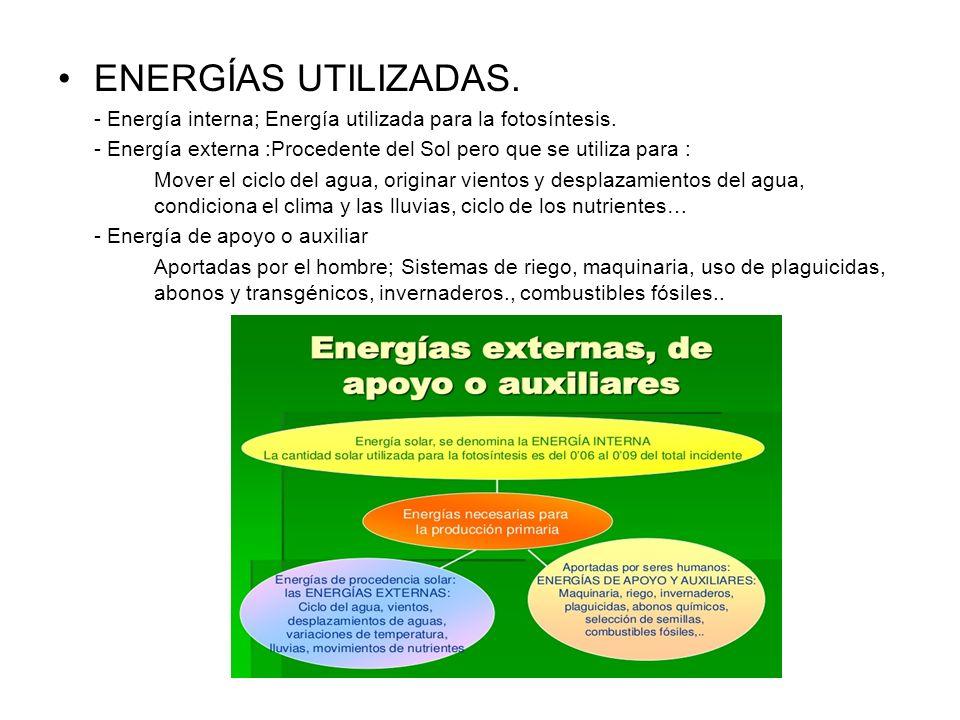 ENERGÍAS UTILIZADAS.- Energía interna; Energía utilizada para la fotosíntesis. - Energía externa :Procedente del Sol pero que se utiliza para :