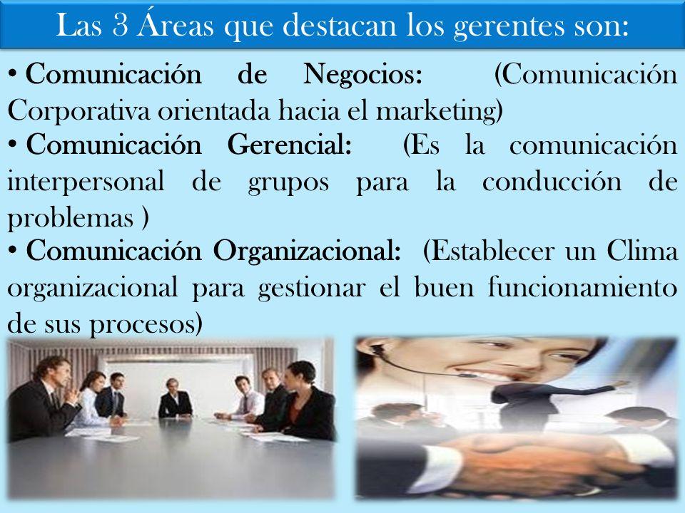 Las 3 Áreas que destacan los gerentes son: