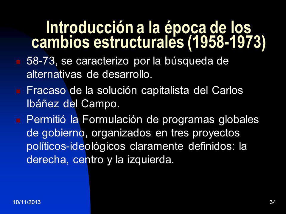 Introducción a la época de los cambios estructurales (1958-1973)