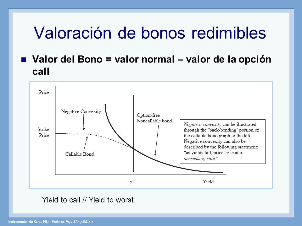 Valoración de bonos redimibles