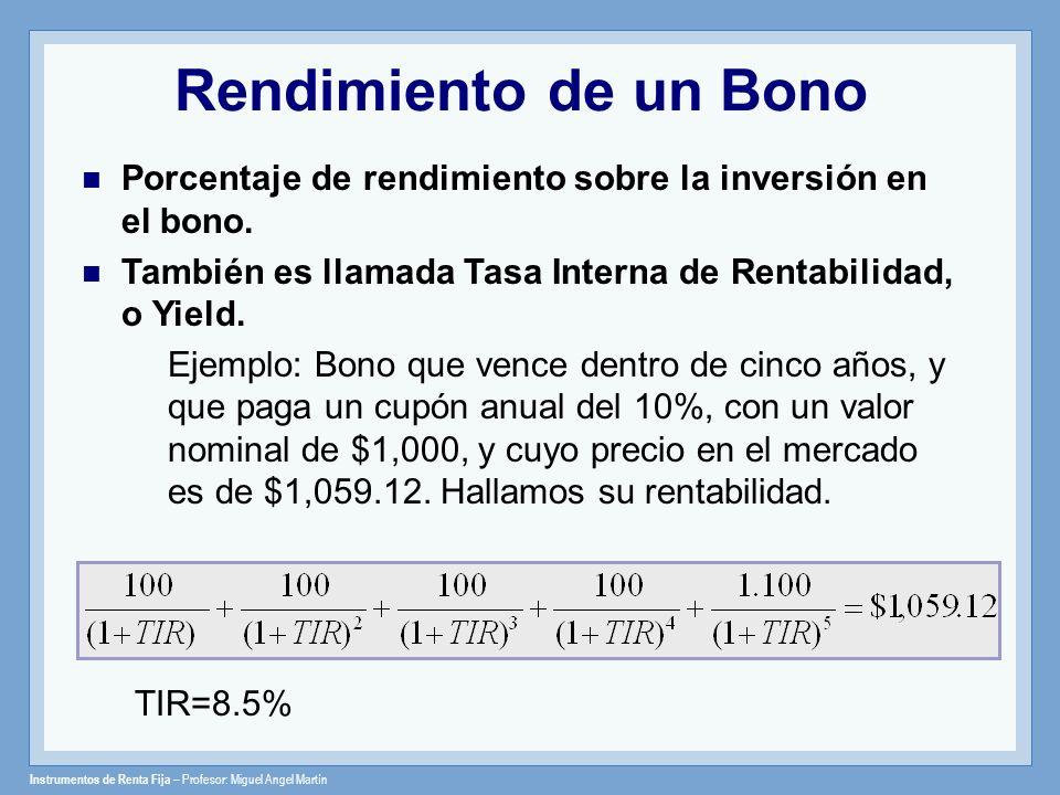 Rendimiento de un Bono Porcentaje de rendimiento sobre la inversión en el bono. También es llamada Tasa Interna de Rentabilidad, o Yield.