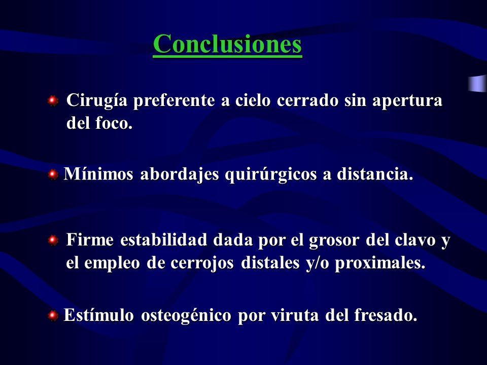 Conclusiones Cirugía preferente a cielo cerrado sin apertura del foco.