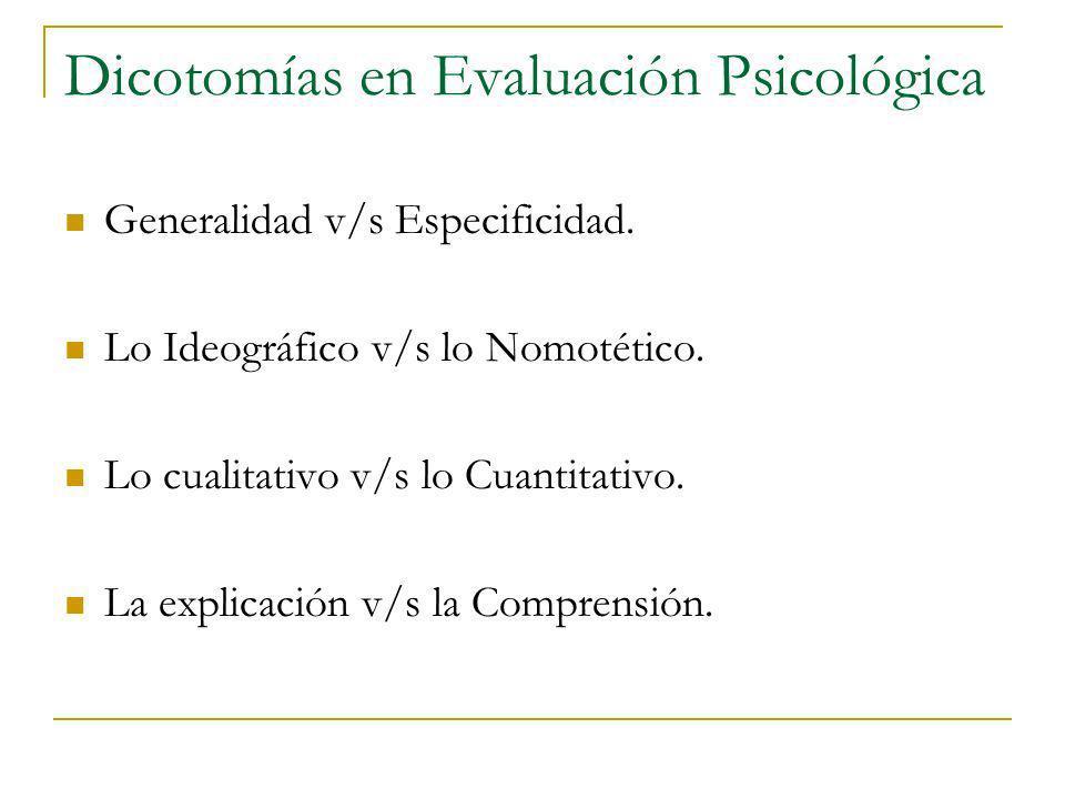 Dicotomías en Evaluación Psicológica