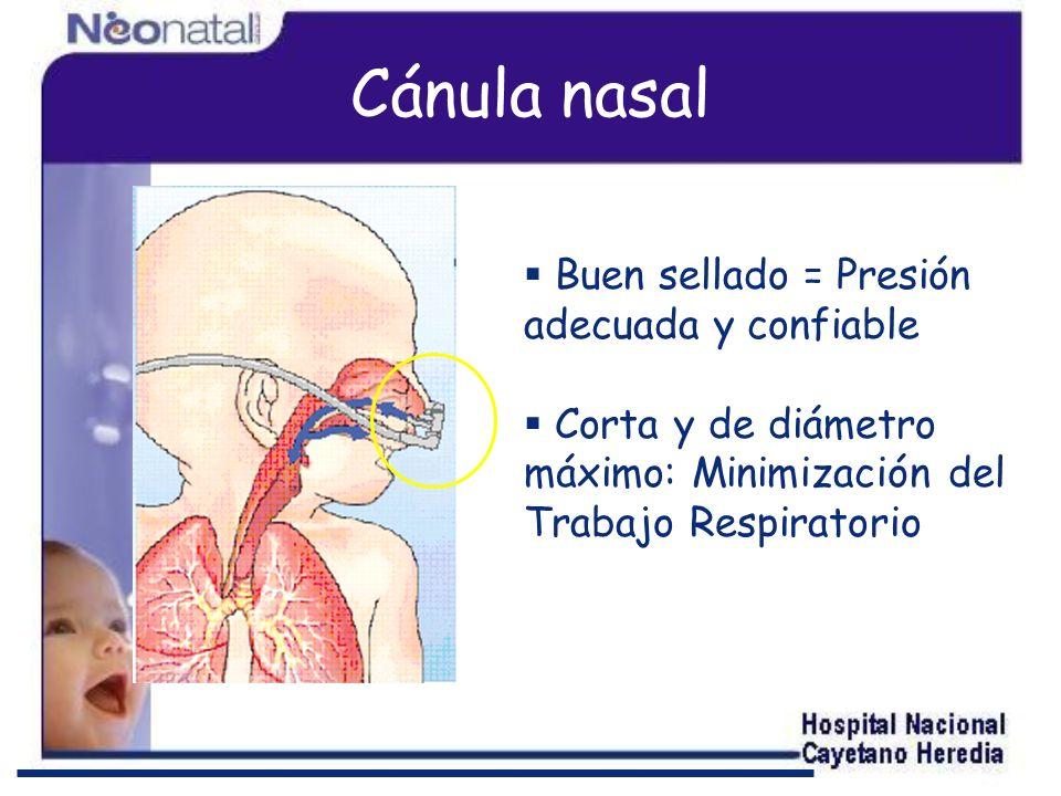 Cánula nasal Buen sellado = Presión adecuada y confiable