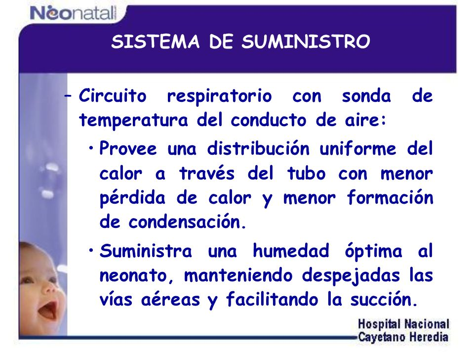 SISTEMA DE SUMINISTROCircuito respiratorio con sonda de temperatura del conducto de aire: