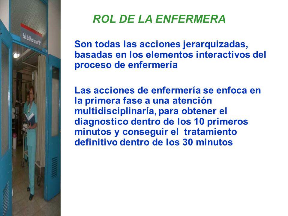 ROL DE LA ENFERMERA Son todas las acciones jerarquizadas, basadas en los elementos interactivos del proceso de enfermería.