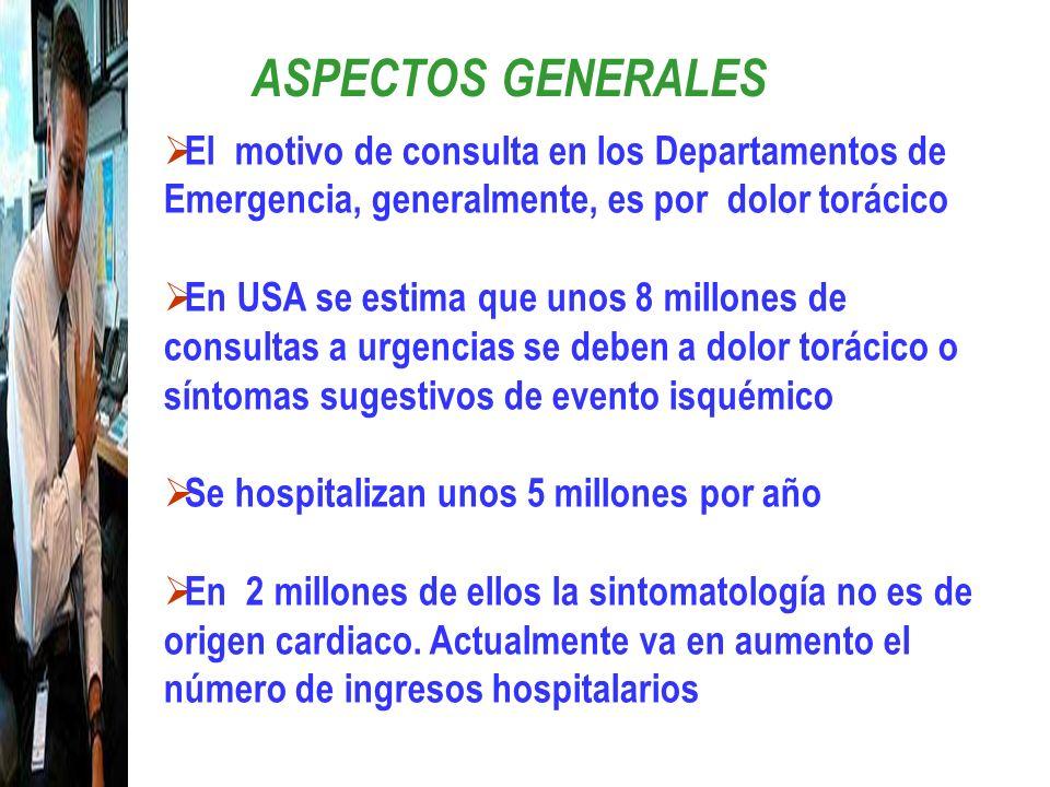 ASPECTOS GENERALESEl motivo de consulta en los Departamentos de Emergencia, generalmente, es por dolor torácico.