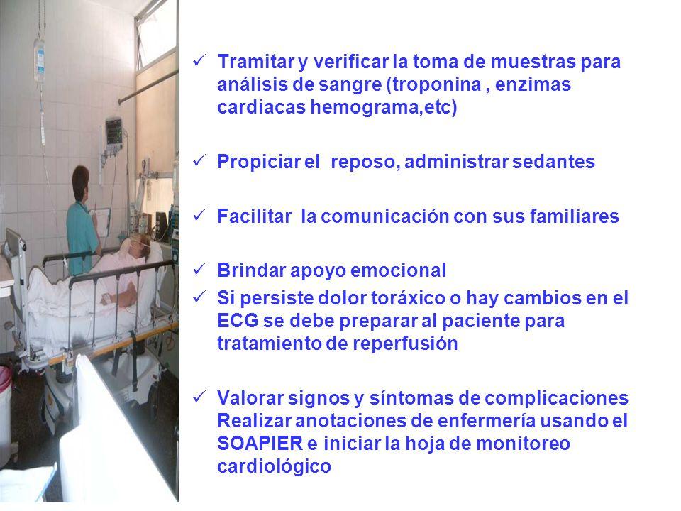 Tramitar y verificar la toma de muestras para análisis de sangre (troponina , enzimas cardiacas hemograma,etc)