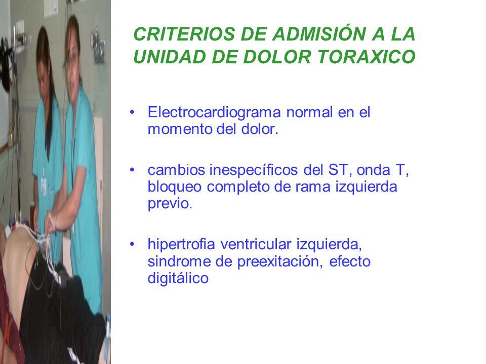 CRITERIOS DE ADMISIÓN A LA UNIDAD DE DOLOR TORAXICO