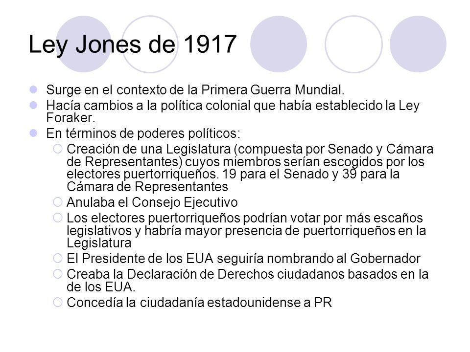 Ley Jones de 1917 Surge en el contexto de la Primera Guerra Mundial.