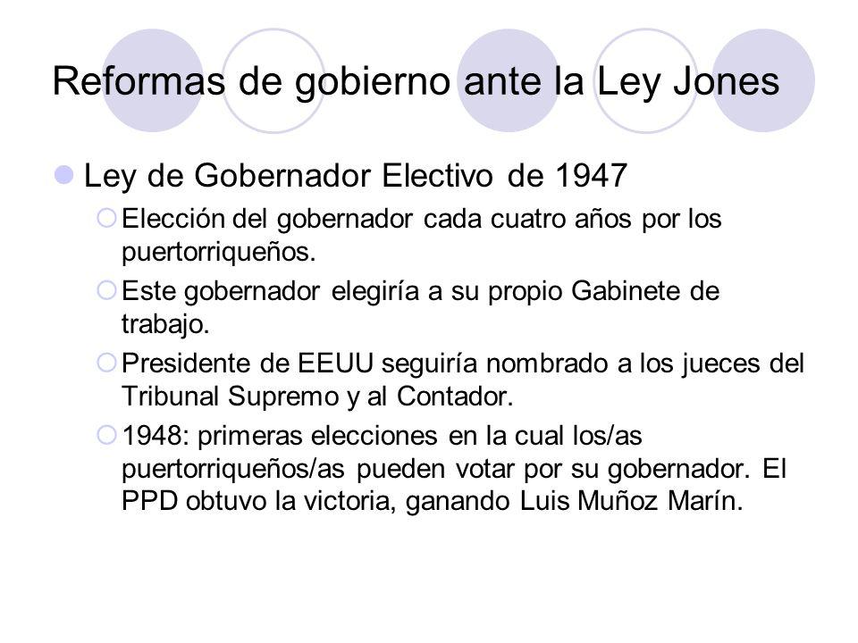 Reformas de gobierno ante la Ley Jones