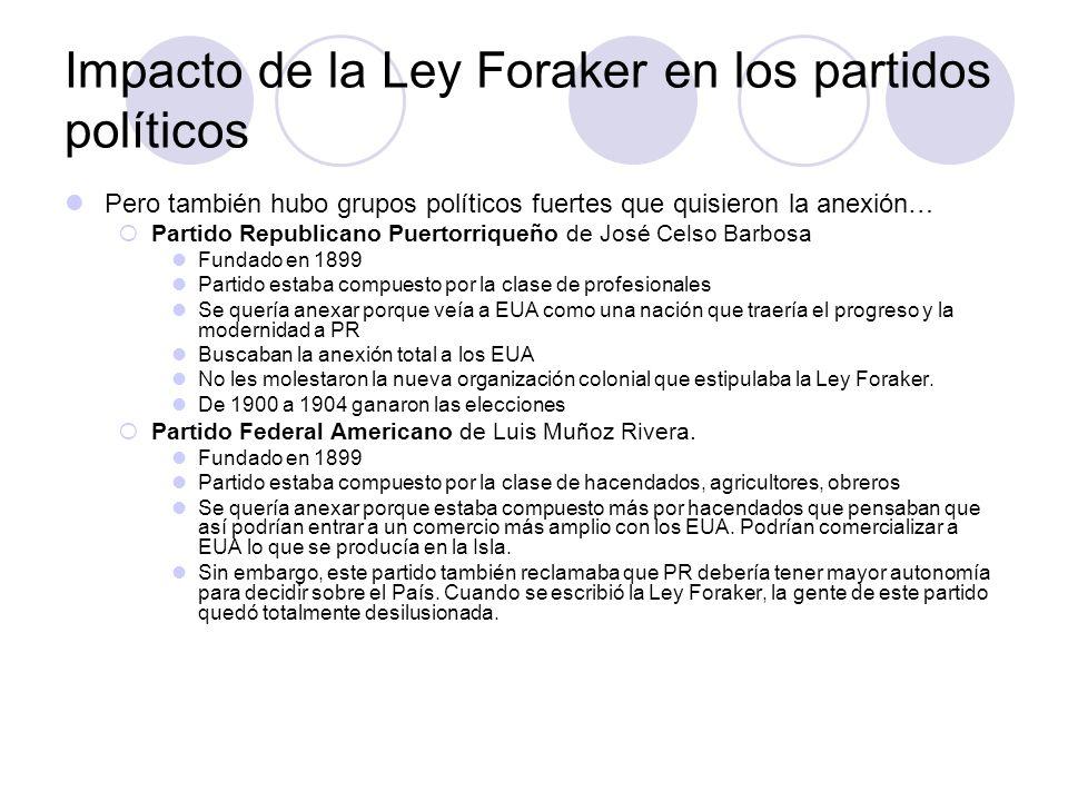 Impacto de la Ley Foraker en los partidos políticos
