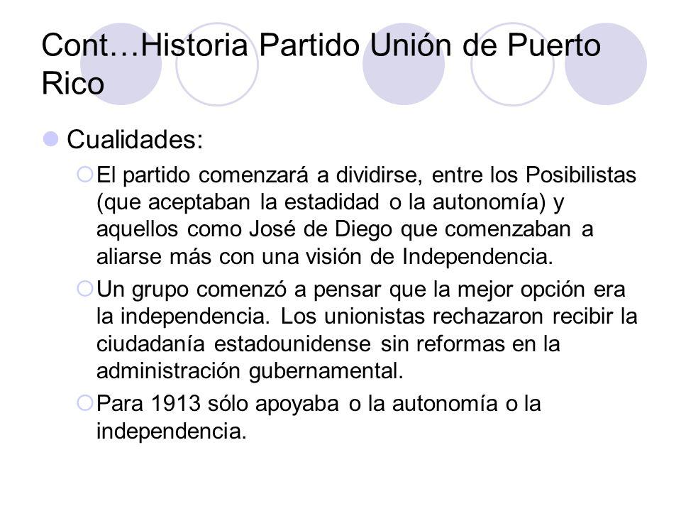 Cont…Historia Partido Unión de Puerto Rico