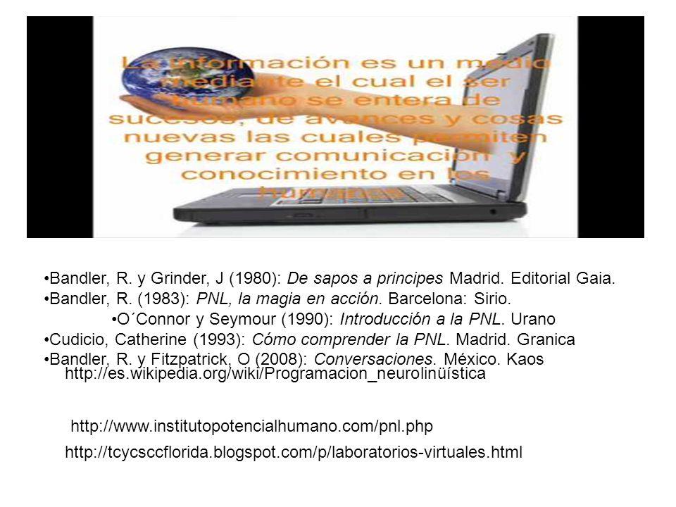 Bandler, R. y Grinder, J (1980): De sapos a principes Madrid