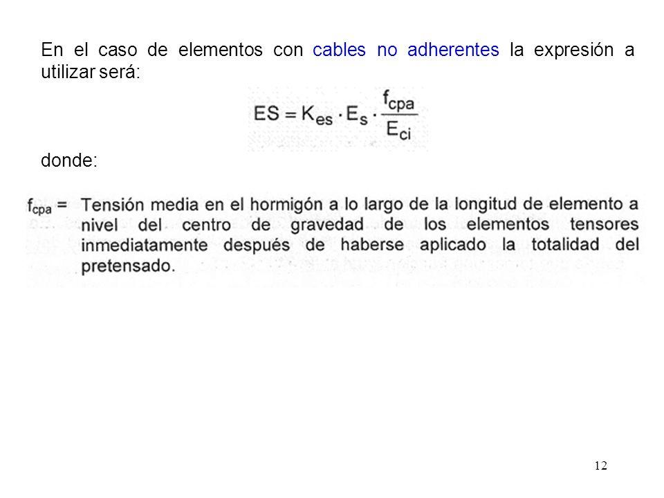 En el caso de elementos con cables no adherentes la expresión a utilizar será: