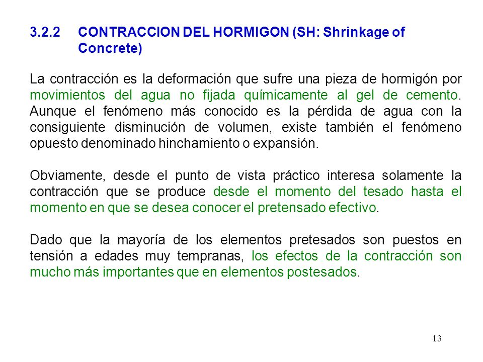 3.2.2 CONTRACCION DEL HORMIGON (SH: Shrinkage of Concrete)