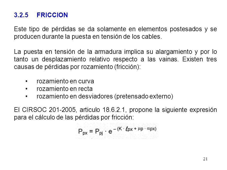 3.2.5 FRICCION Este tipo de pérdidas se da solamente en elementos postesados y se producen durante la puesta en tensión de los cables.
