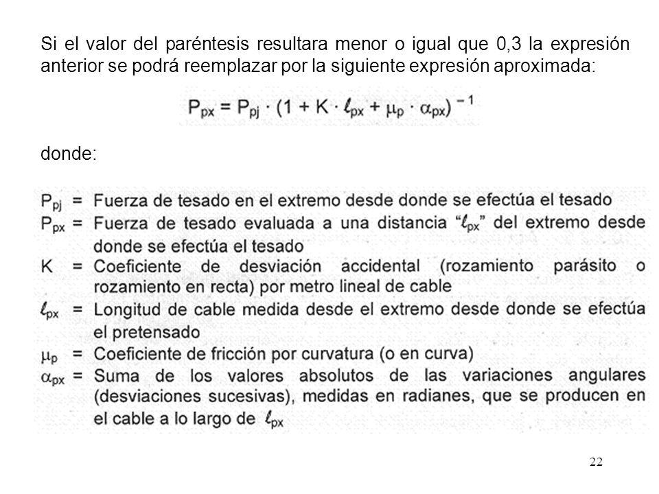 Si el valor del paréntesis resultara menor o igual que 0,3 la expresión anterior se podrá reemplazar por la siguiente expresión aproximada: