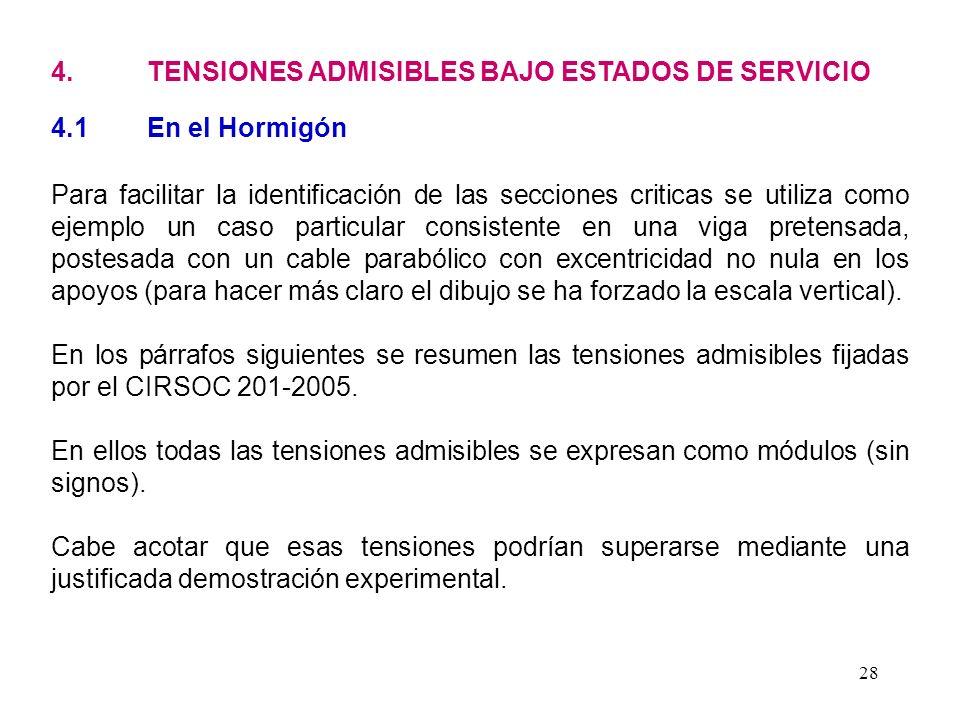 4. TENSIONES ADMISIBLES BAJO ESTADOS DE SERVICIO