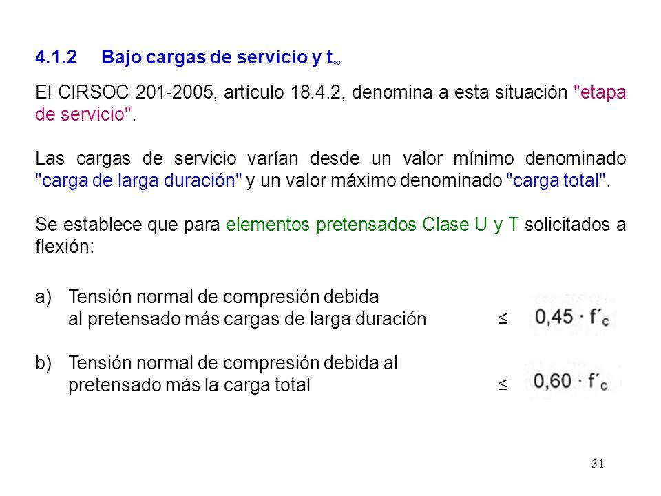 4.1.2 Bajo cargas de servicio y t∞