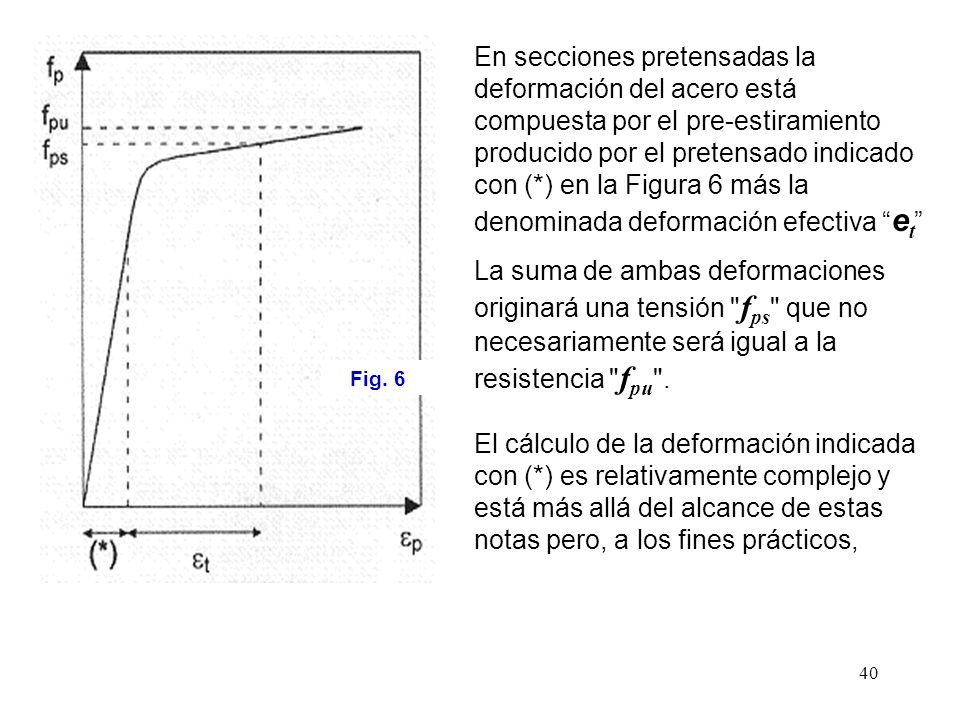 En secciones pretensadas la deformación del acero está compuesta por el pre-estiramiento producido por el pretensado indicado con (*) en la Figura 6 más la denominada deformación efectiva et